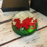 Welsh dragon glass paperweight
