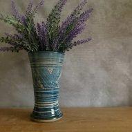 welsh ceramics large vase in blue celtic