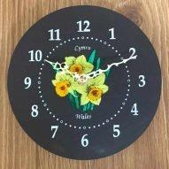 Welsh daffodils slate wall clock