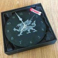 welsh dragon slate clock in box
