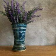 welsh pottery large blue vase stoneware