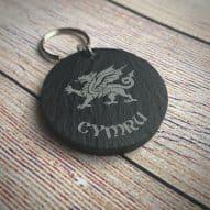 welsh slate keyring with Welsh dragon