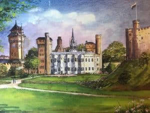 Painting of Cardiff Castle by Miriam Brand