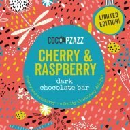 cherry and raspberry dark welsh chocolate bar