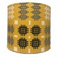 Welsh tapestry lamp shade mustard yellow
